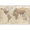 "Framed CANVAS Neutral Tan & Sand World Map - Large 60""w x 38""d"