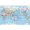 """Framed CANVAS World Map Asia-centric, Political & Shaded Ocean Contours - Large Size 60""""wx 38""""d"""