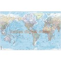 "Stretched CANVAS World Map US-centric Political & Shaded Ocean Contours - Large 60""w x 38""d"