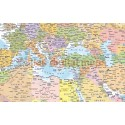 "Stretched CANVAS World Map Political & Ocean contours - Large Size 60""w x 38""d"