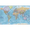 "Stretched CANVAS Political Relief Blue Ocean World Map - Large 60""w x 38""d"