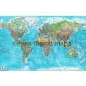 Push Pin World Travel Map TURQUOISE BLUE Detailed Canvas - Physical & Political Standard Size 90x60cm