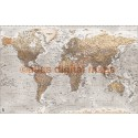 Push Pin World Travel Map NEUTRAL STONE GREY Detailed Canvas + Push Pins Large 140x90cm