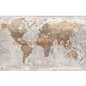 Push Pin World Travel Map NEUTRAL STONE GREY Detailed Canvas + Push Pins Large 140x90cm