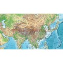 """Rolled CANVASGreen/Blue Relief World Map - Large size 60""""wx 38""""d"""
