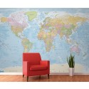 World Political map with ocean floor contours Wall Mural - Giant size 4 Piece