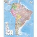 South America Deluxe Political Road Map with land and ocean floor contours
