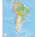 South America Political map with ocean floor contours @10,000,000 scale