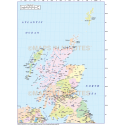 Scotland Regions Map, Illustrator AI CS & PDF formats, includes the Orkney Shetland Isles, 5m scale.