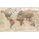Push Pin World Travel Map NEUTRAL BEIGE SAND Detailed Canvas - Detailed Physical & Political Large 140x90cm