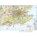 South East England County Road/Rail Map @1,000,000 scale