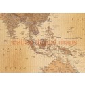 "Stretched CANVAS Antique style Tan World Map - Large size 60""w x 38""d"