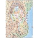 Tanzania Deluxe Map 1st level Political with Road/Rail plus land & ocean floor contours, 1:7,500,000 scale