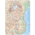 Tanzania Deluxe Road/Rail Map plus land & ocean floor contours @7,500,000 scale