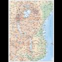 Tanzania Deluxe Road/Rail Map plus land & ocean floor contours @7,500,000 scale