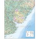 Uruguay Deluxe Map 1st level Departments with Road/Rail plus land & ocean floor contours