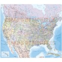 USA/North America Map, detailed Road & Rail with State fills, large size