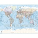 Gall Political World Map with insets & Ocean floor contours, Large size
