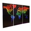 """Rainbow World Map Designer Triptych - 48"""" x 31.5"""""""