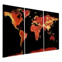 "Fire Opal World Map Designer Triptych - 48"" x 31.5"""