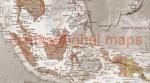 "VINYL World Map Antique-style Tan & Stone - Large Size 60""wx 38""d"