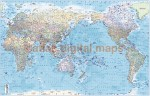 """VINYL World Map Asia-centric, Political & Shaded Ocean Contours - Large Size 60""""wx 38""""d"""