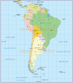 South America Simple Political Country map @10,000,000 scale