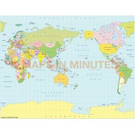 Digital vector world map, small scale, royalty free