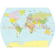Digital vector World Map, Times Projection @100m scale UK-centric Political