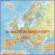 Europe 4M scale Regular Colour Relief Map with Roads