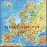 Europe 4M scale Medium colour Relief Map