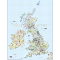 Vector British Isles County Region map @1,000,000 scale
