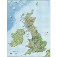 1M scale British Isles County map with Medium colour Relief