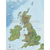British Isles 1st level Political Road & Rail map @1,000,000 scale medium colour relief