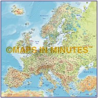 Europe 4M scale Regular Contour Colour Relief Map