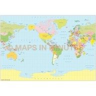 Vector World map. B.S.A.M. projection. Small scale Political US centric