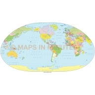 Digital vector world map, Loximuthal projection, small scale, royalty free