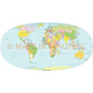 Hyperellyptical Projection 100m scale UK centric Political World Map