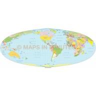 Foucaut Equal Area Projection @100m US centric Political World Map