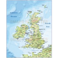 Vector British Isles UK map, Basic Country with regular contour relief @4,000,000 scale. Royalty free, Illustrator and pdf formats.