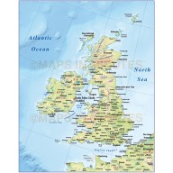 Vector British Isles UK map, Basic Country with regular relief @4,000,000 scale. Royalty free, Illustrator and pdf formats.