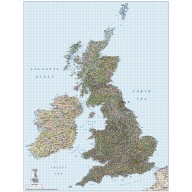 British Isles 1st level Political Road and Rail map @500,000 scale
