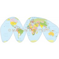 Digital vector World Map, Goode Homolosine Projection, small scale UK-centric Political  style.