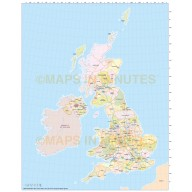 UK Simple Road and County map, Illustrator AI CS vector format, 5m small scale