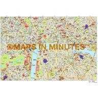 Vector digital map of London, royalty free in Illustrator format