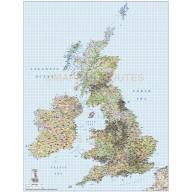 British Isles 1st level Political Road & Rail map @750,000 scale