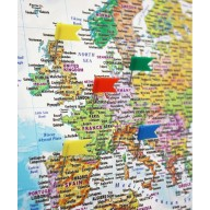 Pinboard Pushpin World Wall Map Canvas - Political and Relief style 90cm wide x 60cm deep. Canvas World Map stretched.