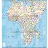 Vector map of Africa. African Continent country map with high resolution ocean floor contours @10m scale