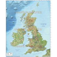 5M scale British Isles County Road map with Medium colour Relief