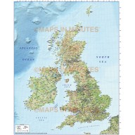 5M scale British Isles County Road map with Regular colour Relief